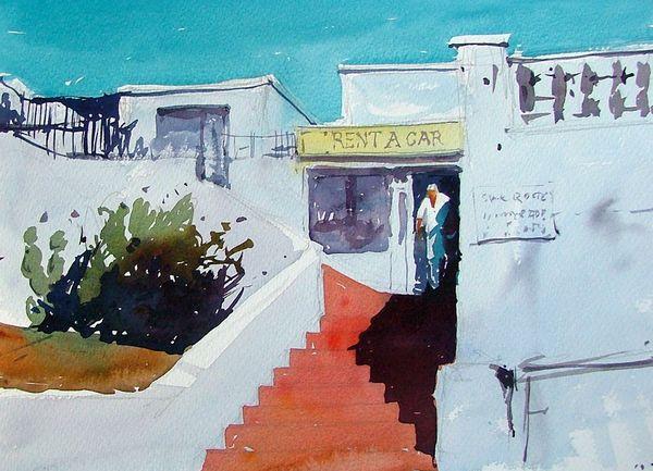 Rent a car office puerto del carmen lanzarote original watercolours by tim wilmot - Car rental puerto del carmen ...