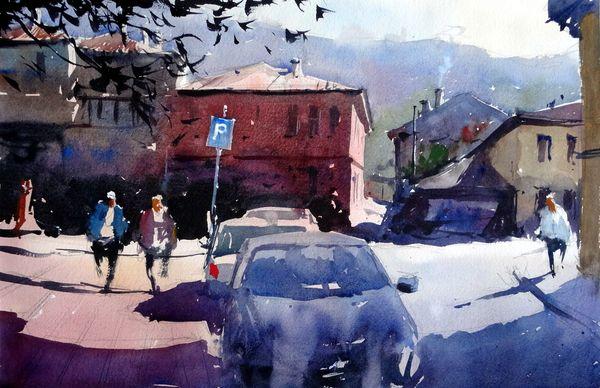 Yesil Caddesi Bursa Turkey Original Watercolours By