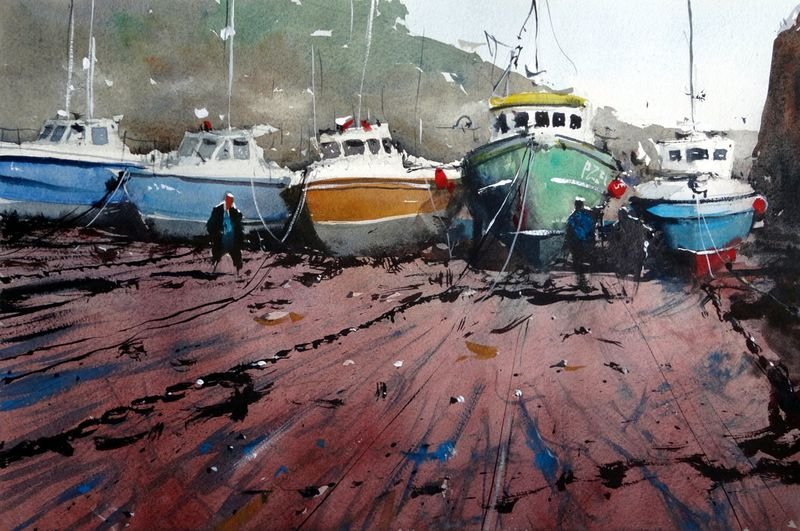 Newquay_harbour_low_tide_fishing_boats