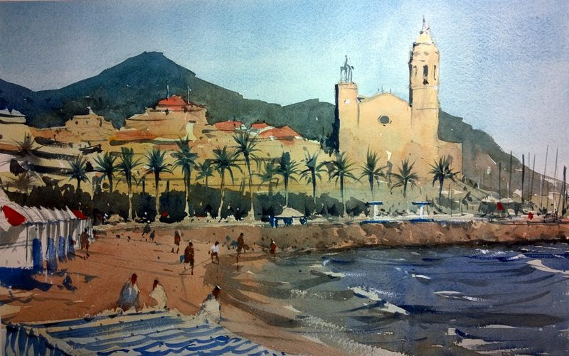 Sitges Beach and Church - A Watercolour Challenge