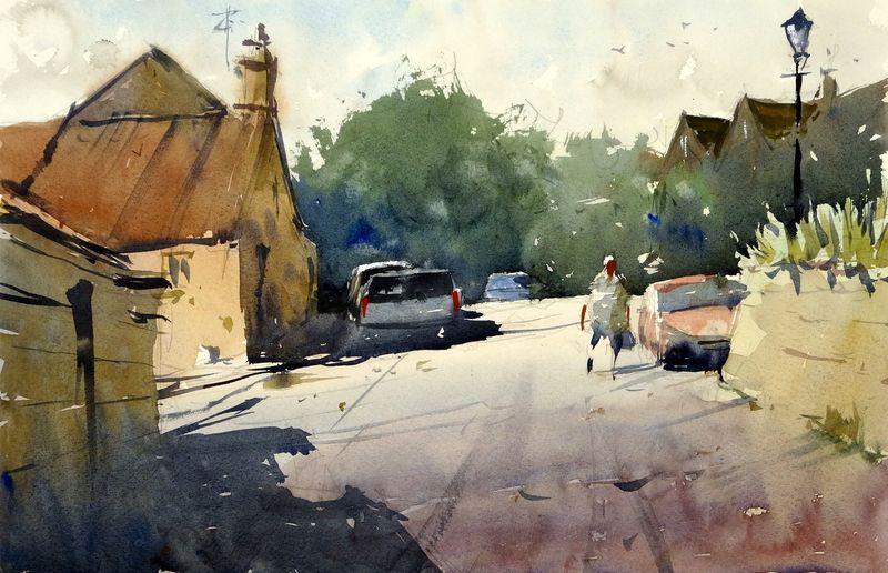 South Stoke, Bath, plein air demo painting