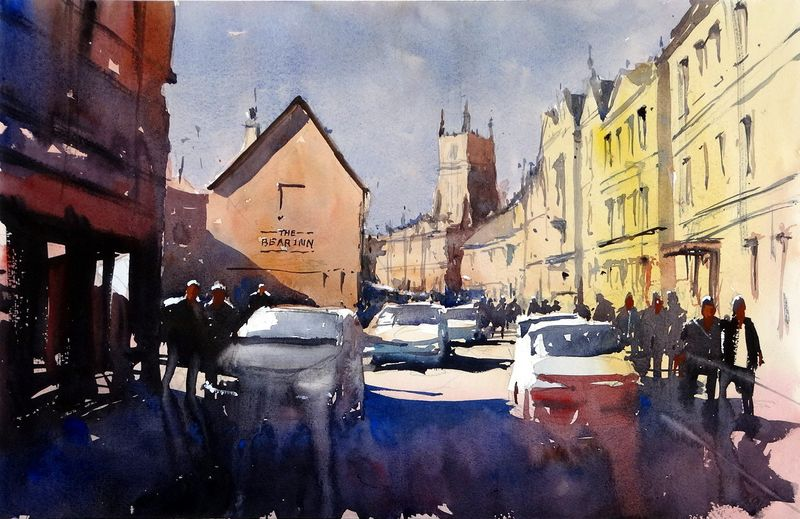 Dyer Street Cirencester and a view up to the Bear Inn
