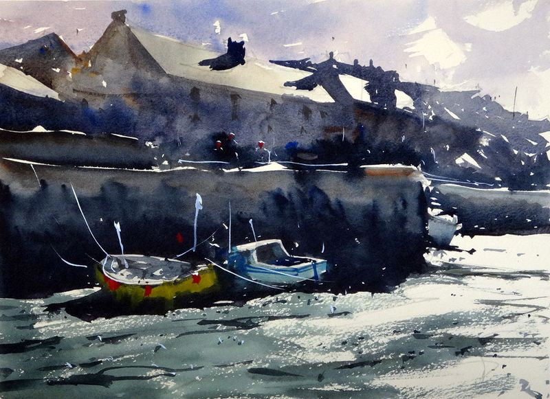 Sunlit_roofs_porthleven_harbour_two-Boats