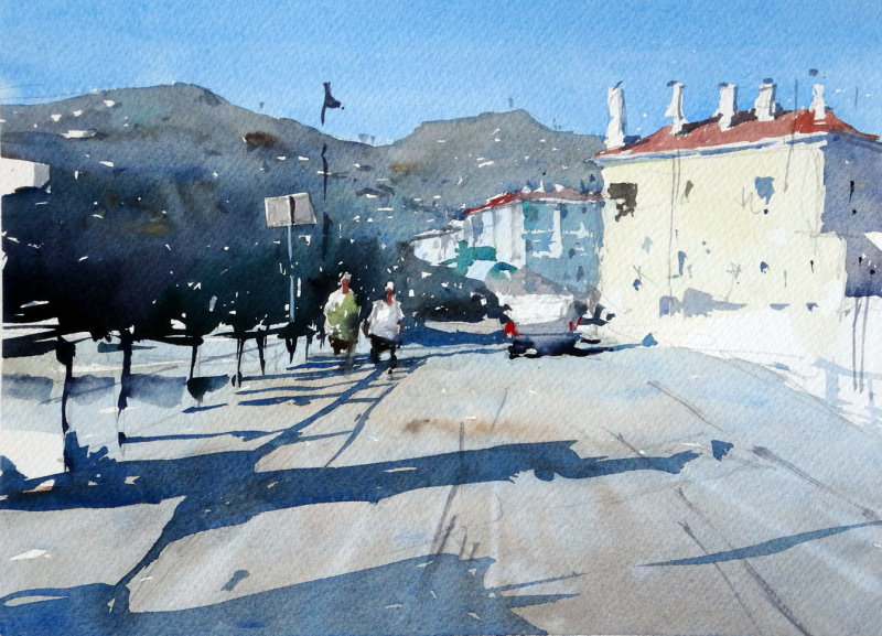 The main road into Cadeques - not your normal subject for this picturesque Spanish seaside town