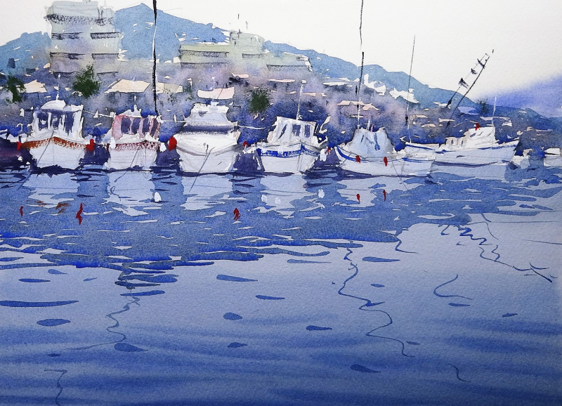Cardiff arts demo painting harbour