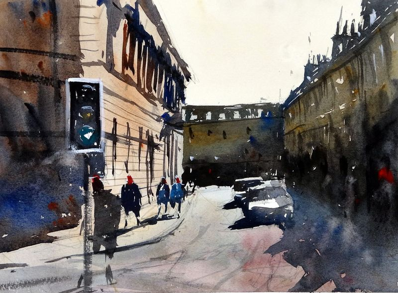 A view up Bridge Street in Bath from Pulteney Bridge