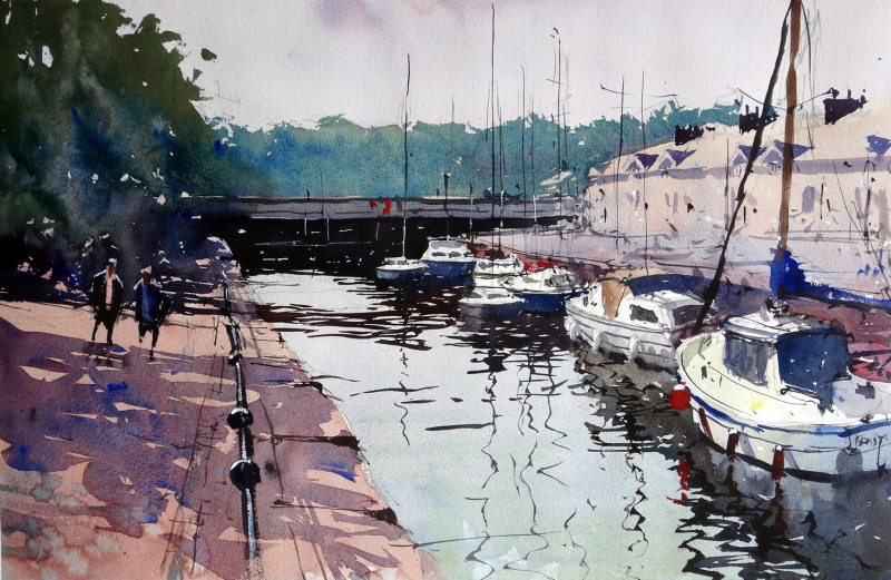 A 3 colour painting - Yachts moored up along the Bristol Waterfront