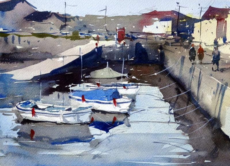 Porthleven harbour slipway and telephone box