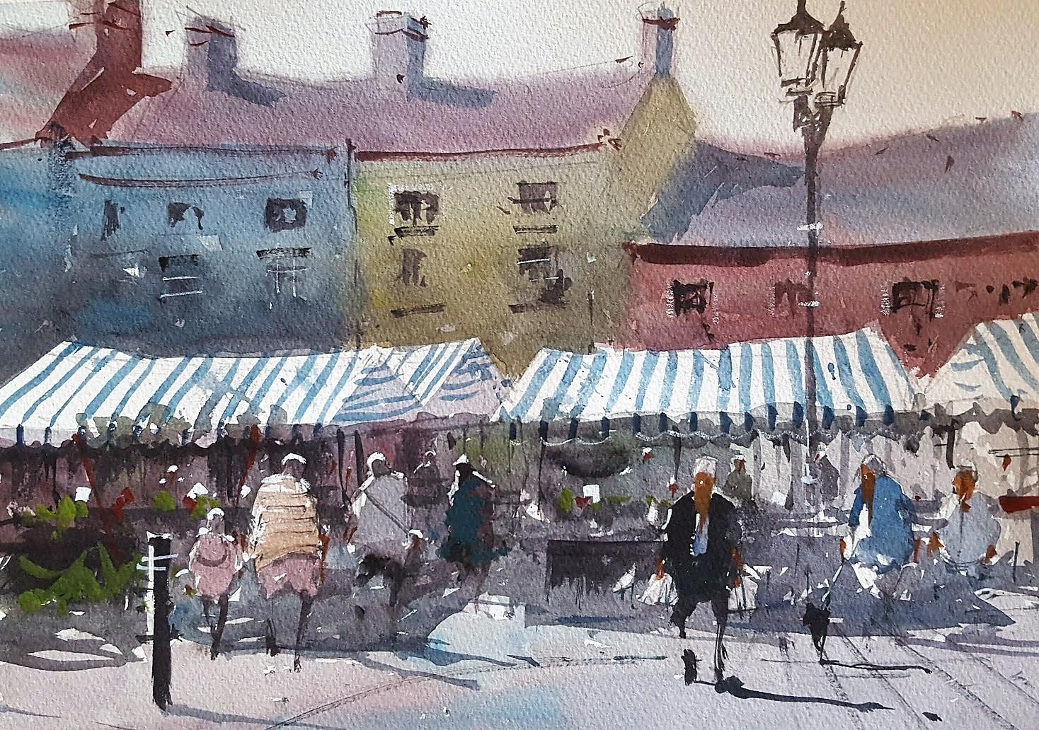 Ludlow Market Plein Air Original Watercolours By Tim Wilmot