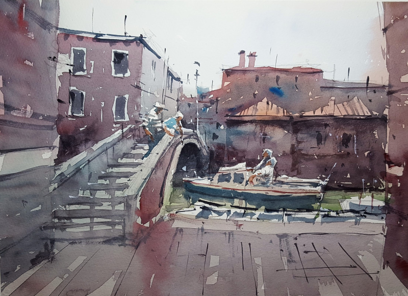 Venice Practice #6 - Using my 3-colour palette