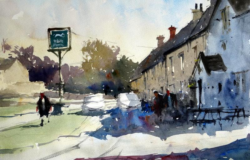 White Horse Pub on The Green, Biddestone, Wiltshire