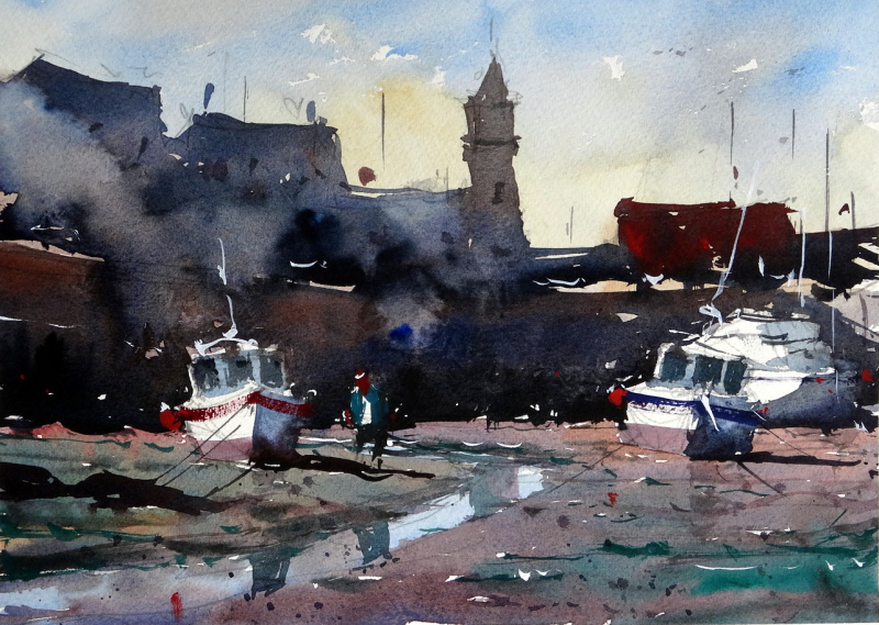 Porthleven_inspired_boats_at_low_tide