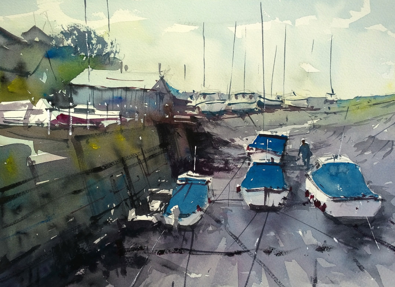 Wrapped up boats porlock weir
