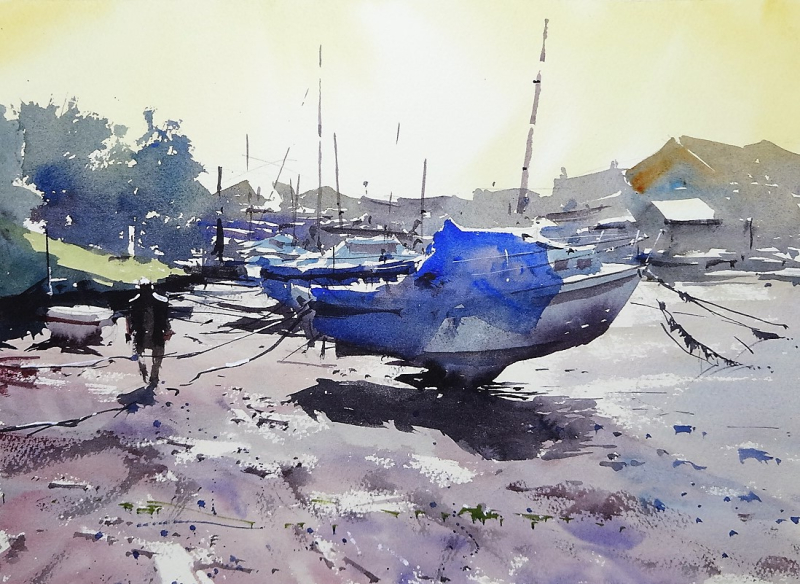 Exmouth esturay boats at low tide 2