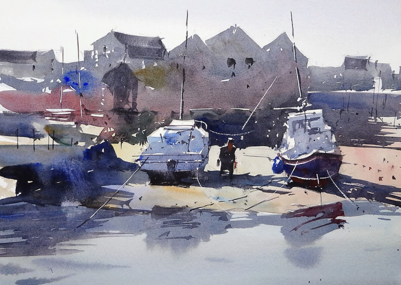 Exmouth esturay boats at low tide 3