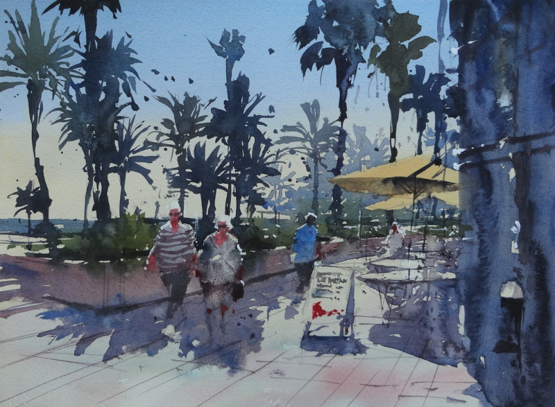 Sitges Palm Trees - How I paint palm trees