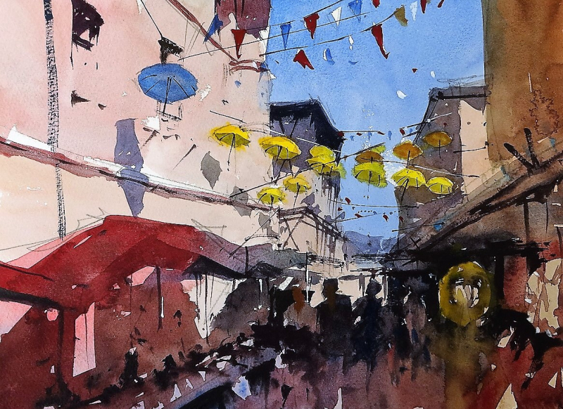 St Foy bunting and umbrellas