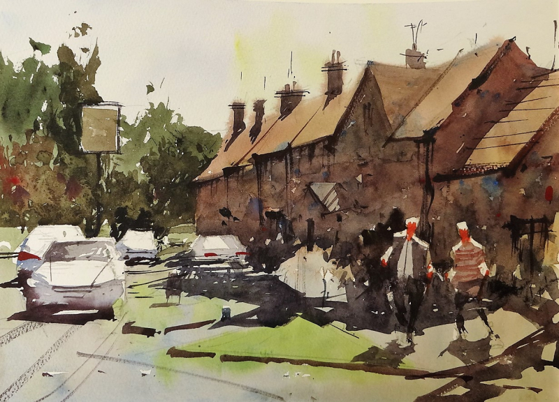 Biddestone Village Pub, Plein Air 2018 #1