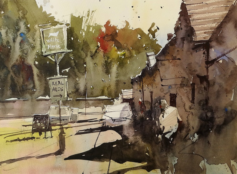 Biddestone pub plein air 2018 #2