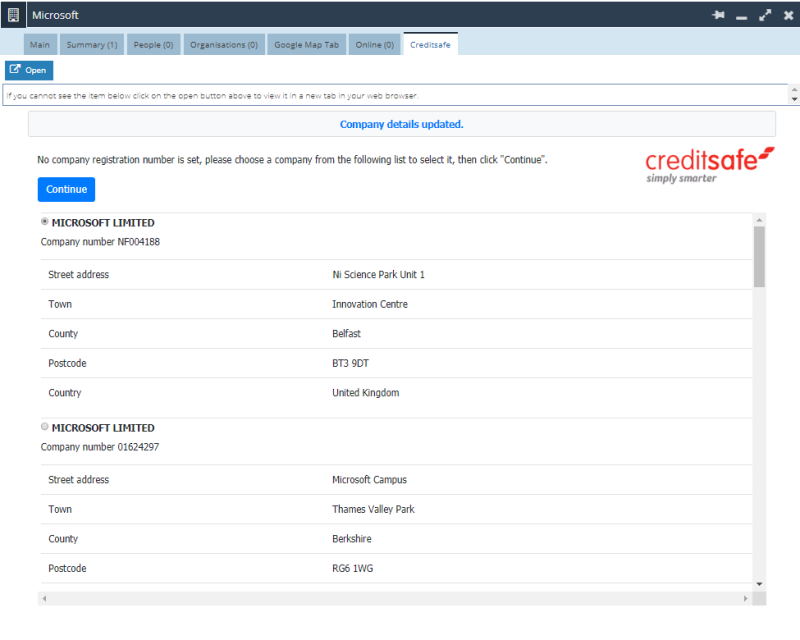 Workbooks crm creditsafe integration