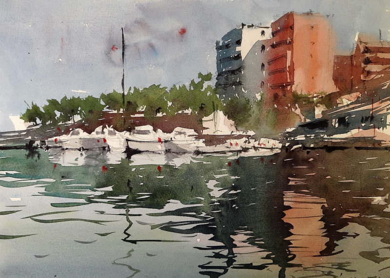 Akti Kanari Chania Crete - Harbour Scene and reflections