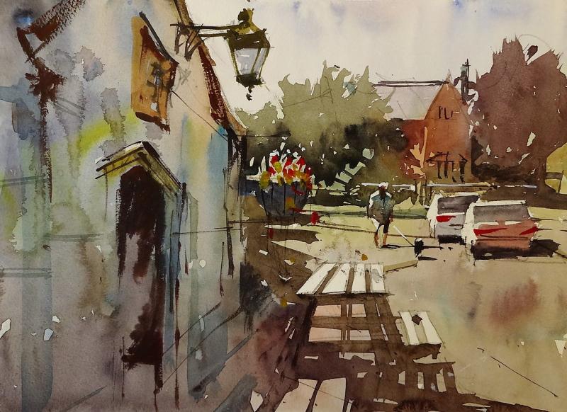 Biddestone pub plein air 2018 #3