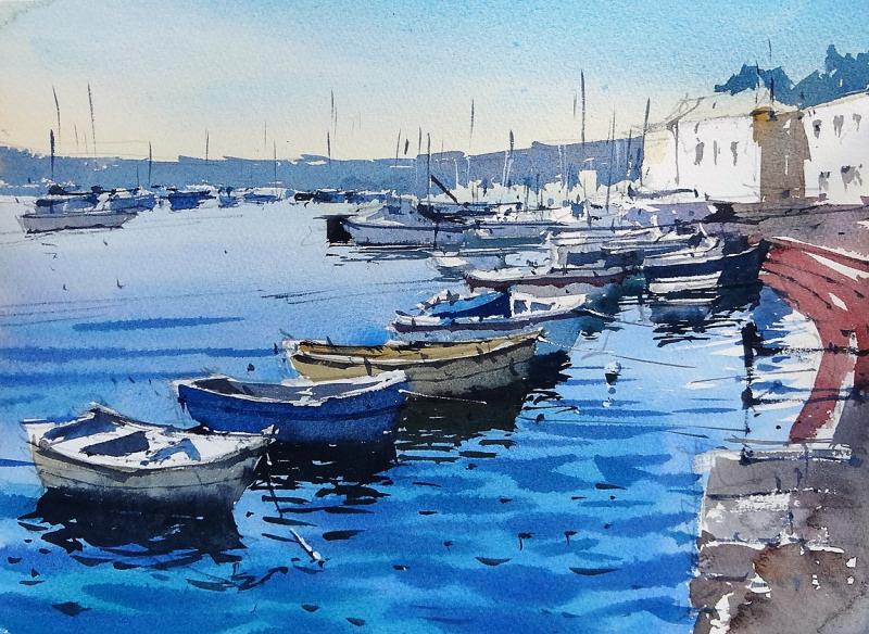 Bright morning in saltash river tamar row of boats