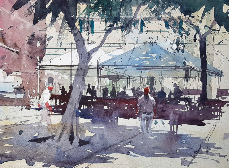 Street Cafe in the shade Cagliari