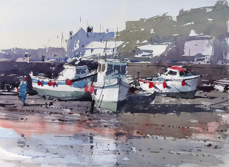 3 boats low tide porthleven