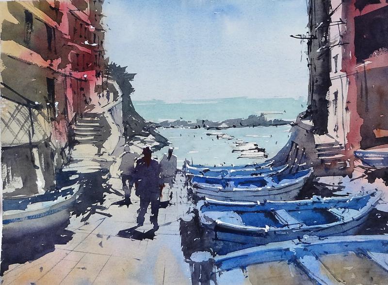 Riomaggiore blue boats