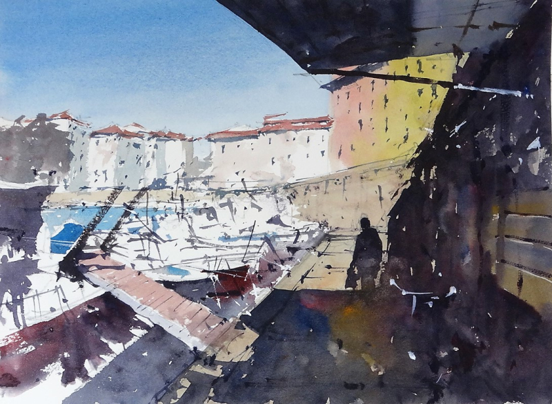 Boats Moored below Via Scali delle Cantine Livorno