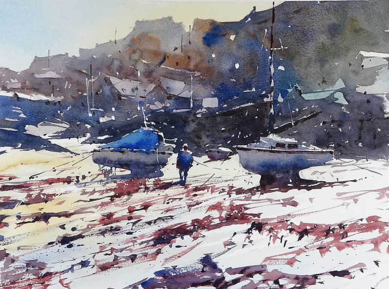 Demo painting newquay harbour low tide p