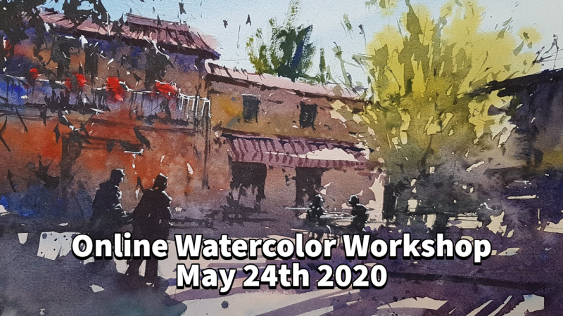 LIVE and ONLINE Workshop with Tim Wilmot May 24th - Sunny scene in Tuscany!