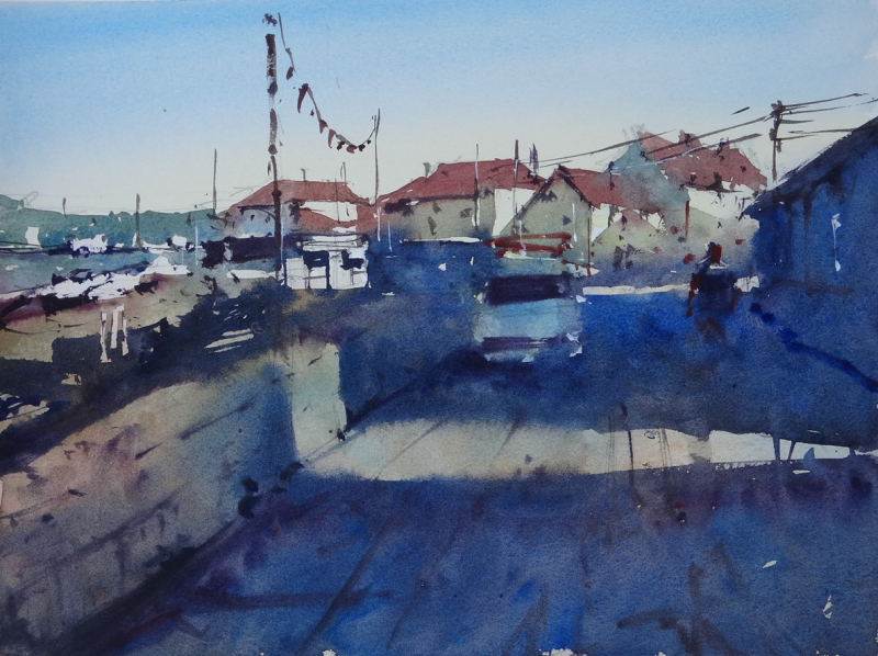 Porthleven harbourside shadows