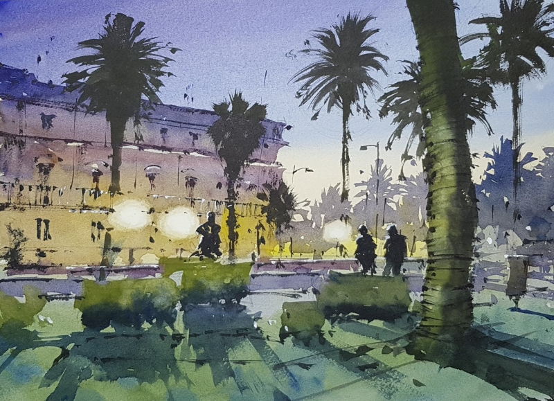 November watercolor workshop night scene demo painting by tim wilmot