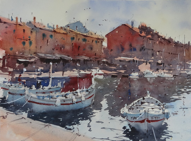 St tropez harbour demo painting
