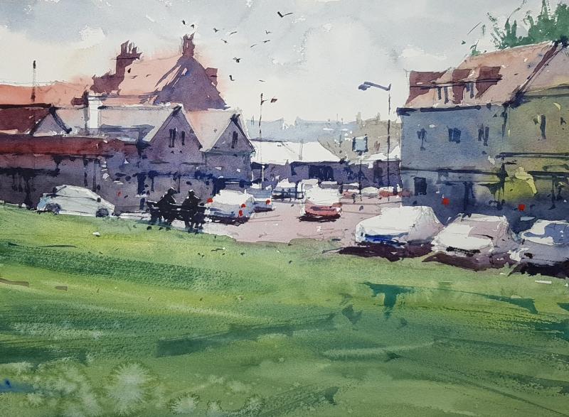 Tim Wilmot demo painting to Highcliffe Art Fellowship June 2021