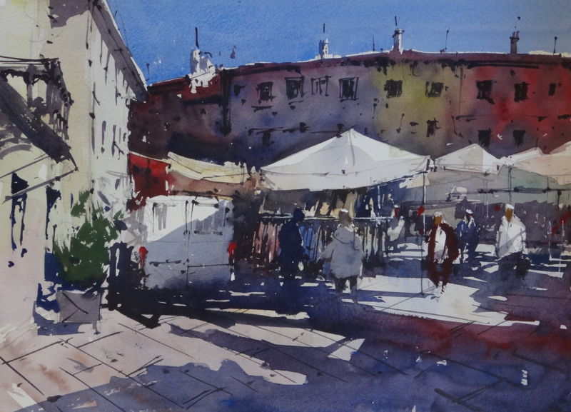 Market day fivizzano sunny piazza