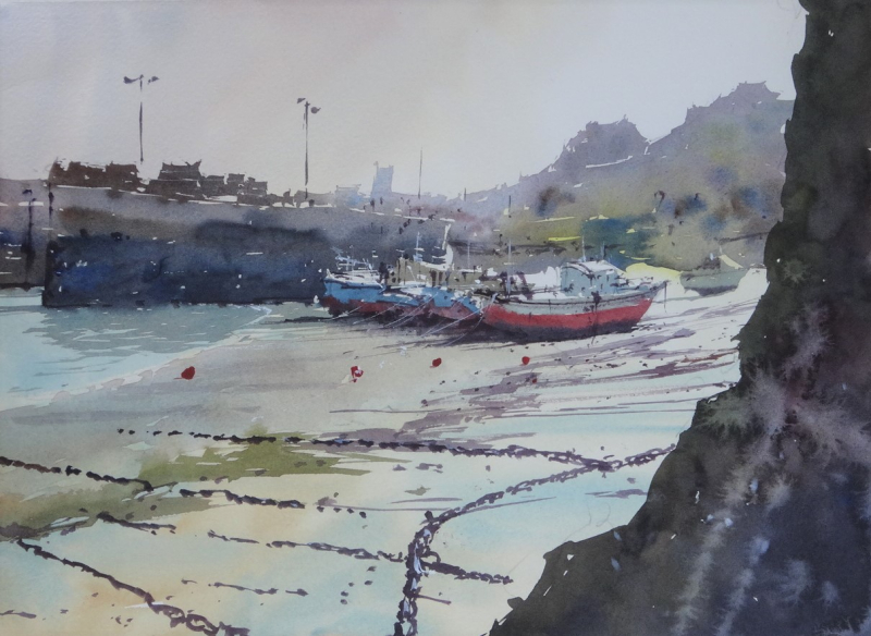 Beached Fishing Boats Newquay Harbour