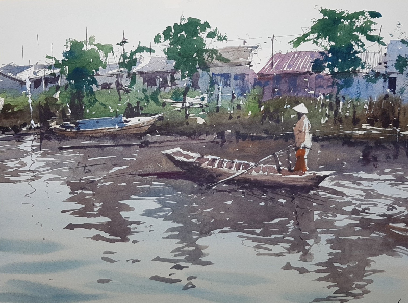 Cambodia River demo painting by Tim Wilmot